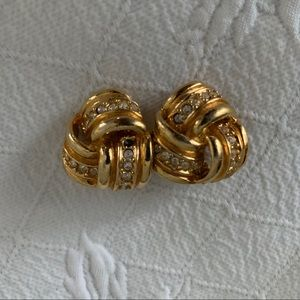 Gold and rhinestone vintage knot post earrings